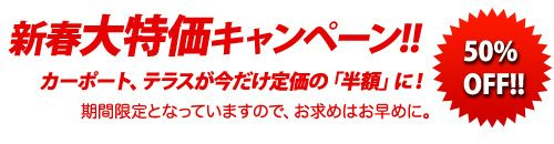新春大特価キャンペーン!カーポート、テラスが50%OFF!